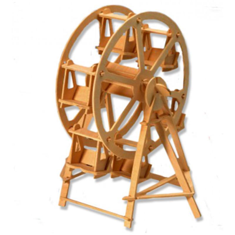 Ξύλινη Κατασκευή Ρόδα Πάζλ 3D