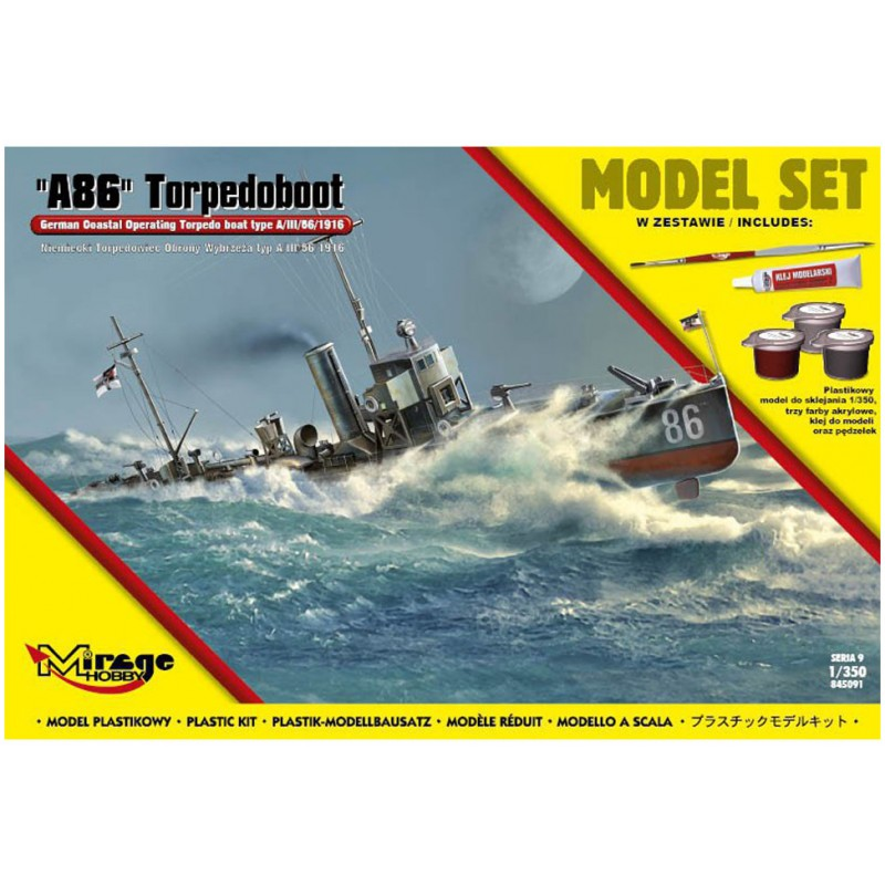 "Mirage Hobby ""A86"" German Torpedoboat Model Set 1:350"