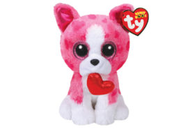 Ty Beanie Boos Χνουδωτός Σκύλος Ροζ Άσπρο με Καρδιά